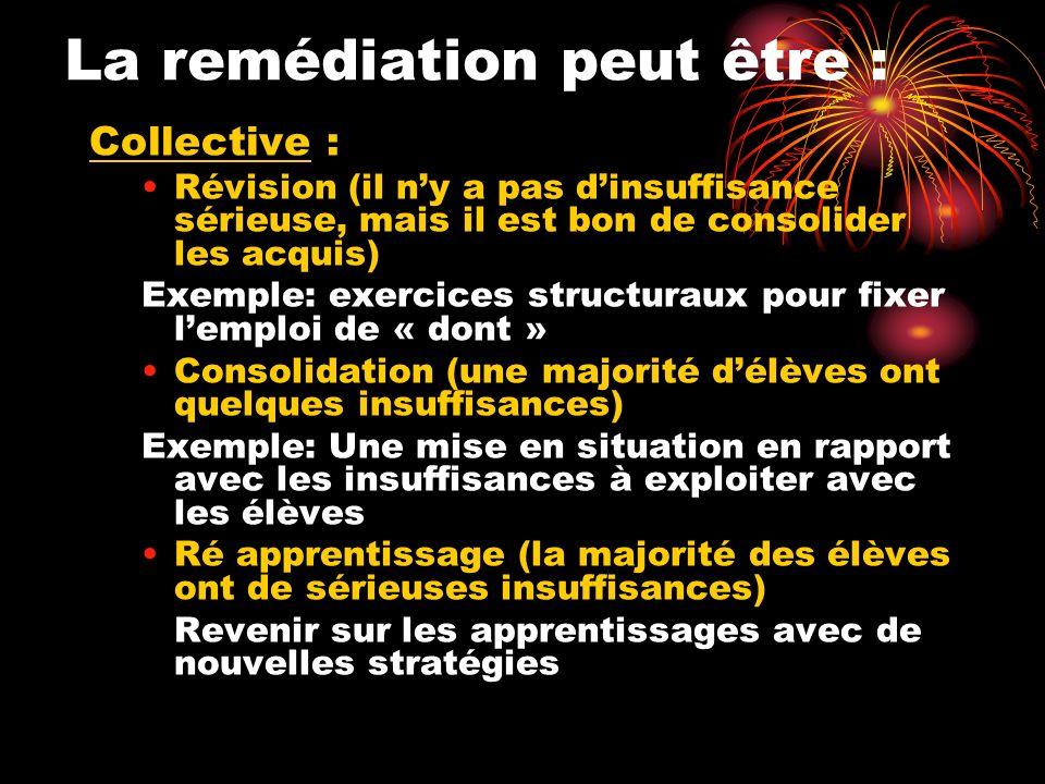 La remédiation peut être : Collective : Révision (il ny a pas dinsuffisance sérieuse, mais il est bon de consolider les acquis) Exemple: exercices str