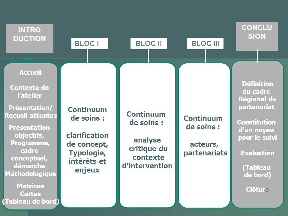 Continuum de soins : analyse critique du contexte dintervention Continuum de soins : clarification de concept, Typologie, intérêts et enjeux Accueil C