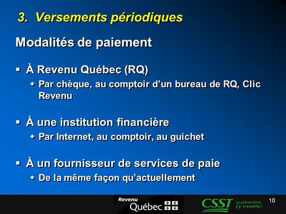 10 3. Versements périodiques Modalités de paiement À Revenu Québec (RQ) Par chèque, au comptoir dun bureau de RQ, Clic Revenu À une institution financ