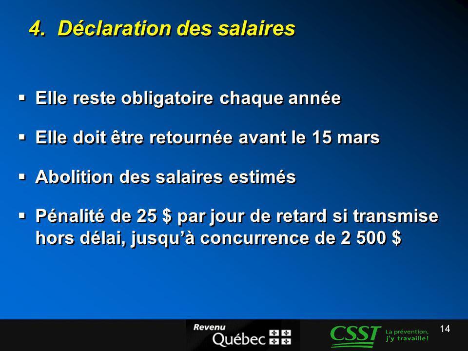 14 4. Déclaration des salaires Elle reste obligatoire chaque année Elle doit être retournée avant le 15 mars Abolition des salaires estimés Pénalité d