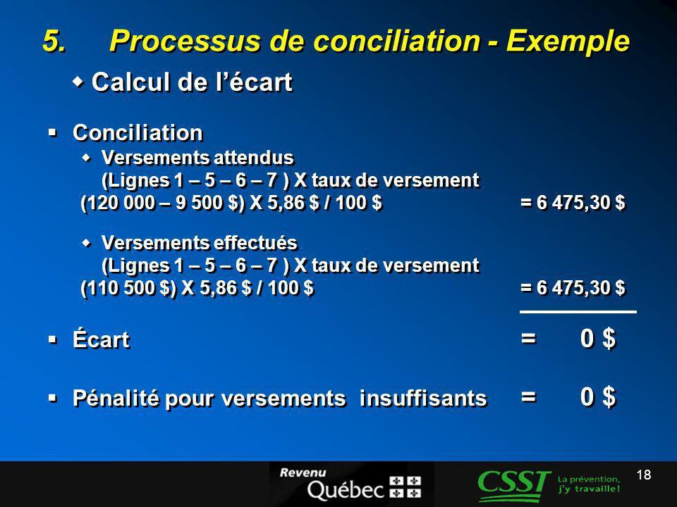 18 5.Processus de conciliation - Exemple Conciliation Versements attendus (Lignes 1 – 5 – 6 – 7 ) X taux de versement (120 000 – 9 500 $) X 5,86 $ / 1