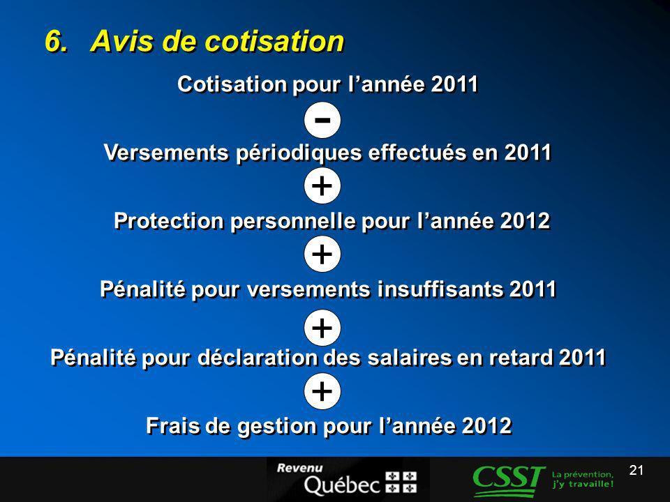 21 6.Avis de cotisation Cotisation pour lannée 2011 Versements périodiques effectués en 2011 Protection personnelle pour lannée 2012 Pénalité pour ver