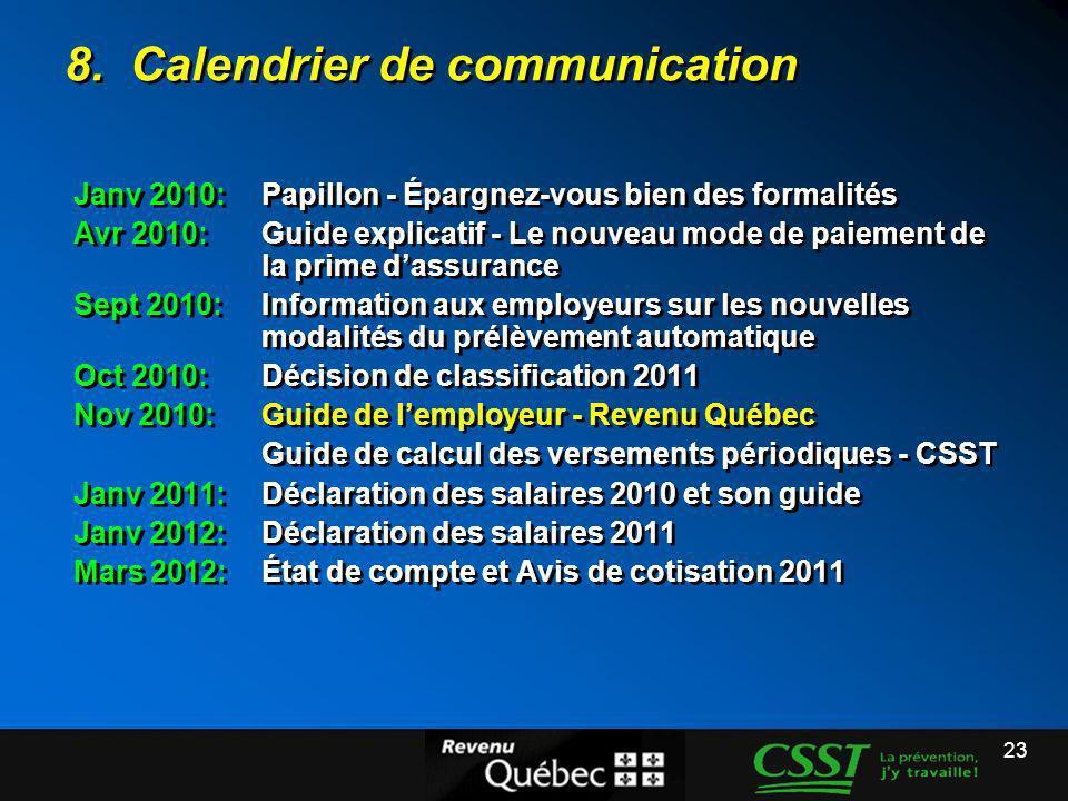 23 8. Calendrier de communication Janv 2010: Papillon - Épargnez-vous bien des formalités Avr 2010:Guide explicatif - Le nouveau mode de paiement de l