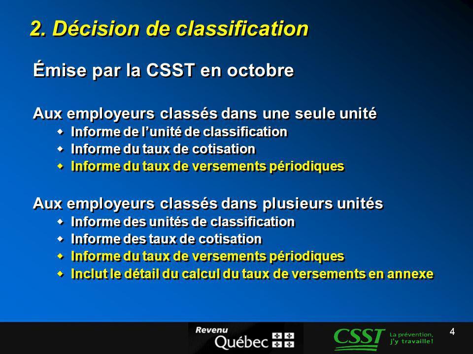4 2. Décision de classification Émise par la CSST en octobre Aux employeurs classés dans une seule unité Informe de lunité de classification Informe d