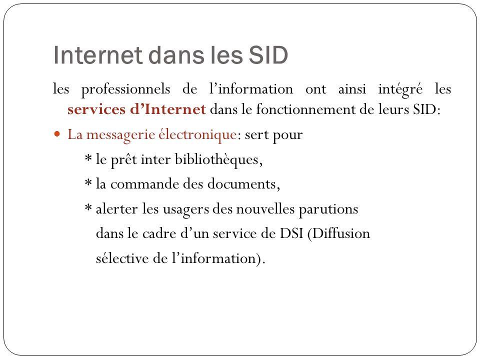 Internet dans les SID les professionnels de linformation ont ainsi intégré les services dInternet dans le fonctionnement de leurs SID: La messagerie électronique: sert pour * le prêt inter bibliothèques, * la commande des documents, * alerter les usagers des nouvelles parutions dans le cadre dun service de DSI (Diffusion sélective de linformation).