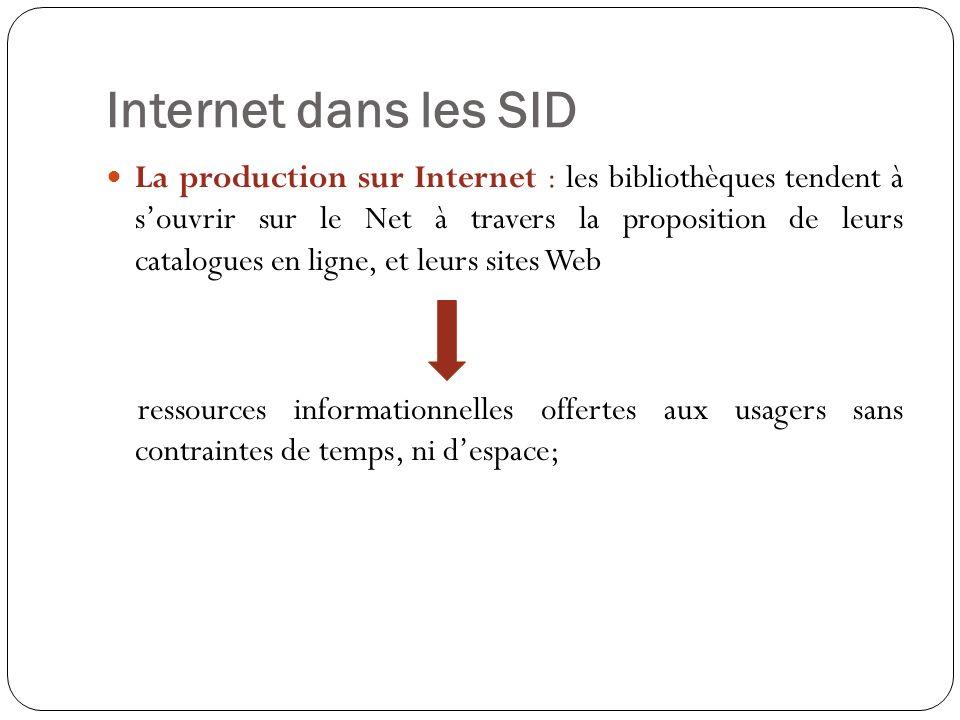 Internet dans les SID La production sur Internet : les bibliothèques tendent à souvrir sur le Net à travers la proposition de leurs catalogues en ligne, et leurs sites Web ressources informationnelles offertes aux usagers sans contraintes de temps, ni despace;