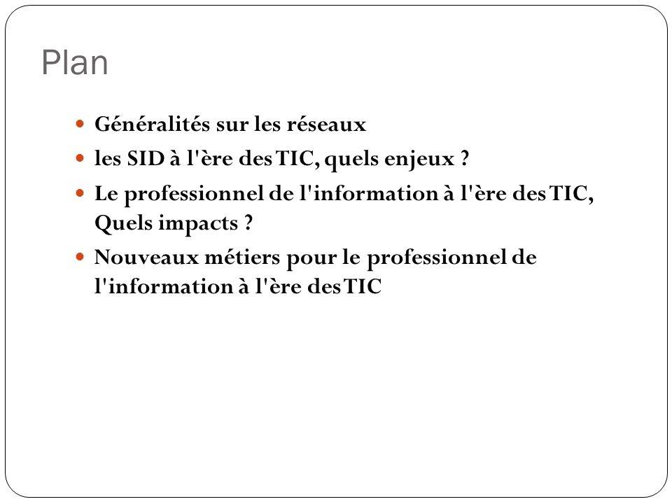 Plan Généralités sur les réseaux les SID à l ère des TIC, quels enjeux .