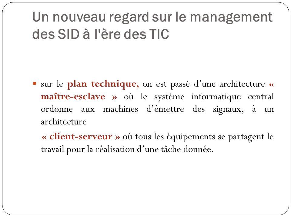 Un nouveau regard sur le management des SID à l'ère des TIC sur le plan technique, on est passé dune architecture « maître-esclave » où le système inf