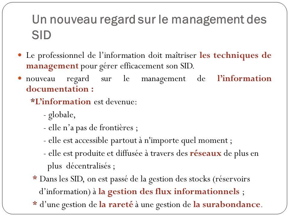 Un nouveau regard sur le management des SID Le professionnel de linformation doit maîtriser les techniques de management pour gérer efficacement son S
