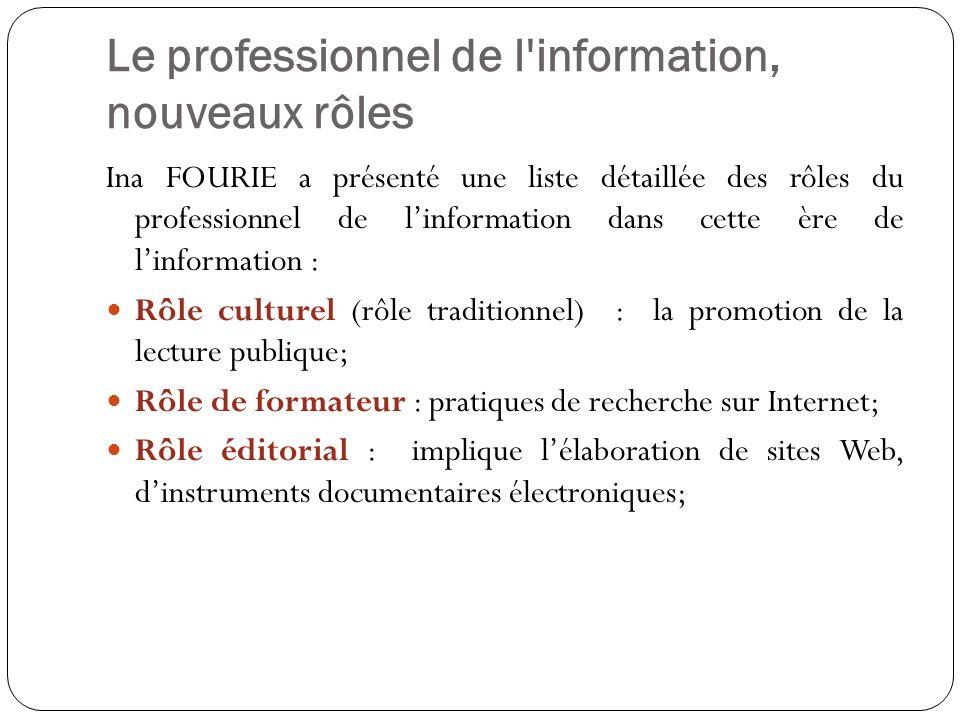 Le professionnel de l'information, nouveaux rôles Ina FOURIE a présenté une liste détaillée des rôles du professionnel de linformation dans cette ère