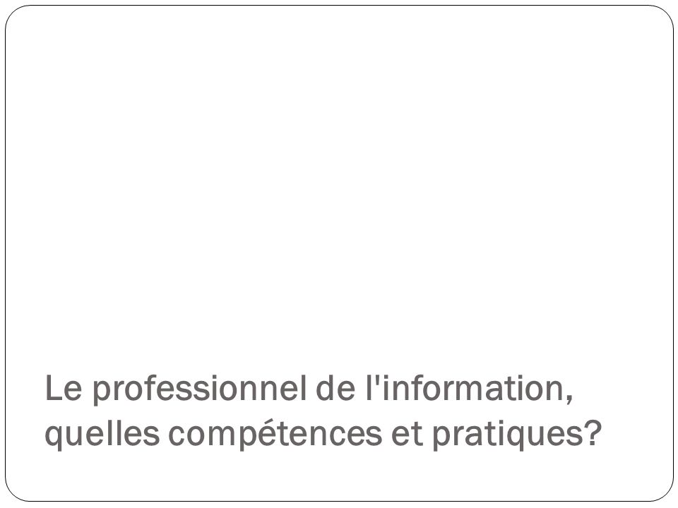 Le professionnel de l'information, quelles compétences et pratiques?