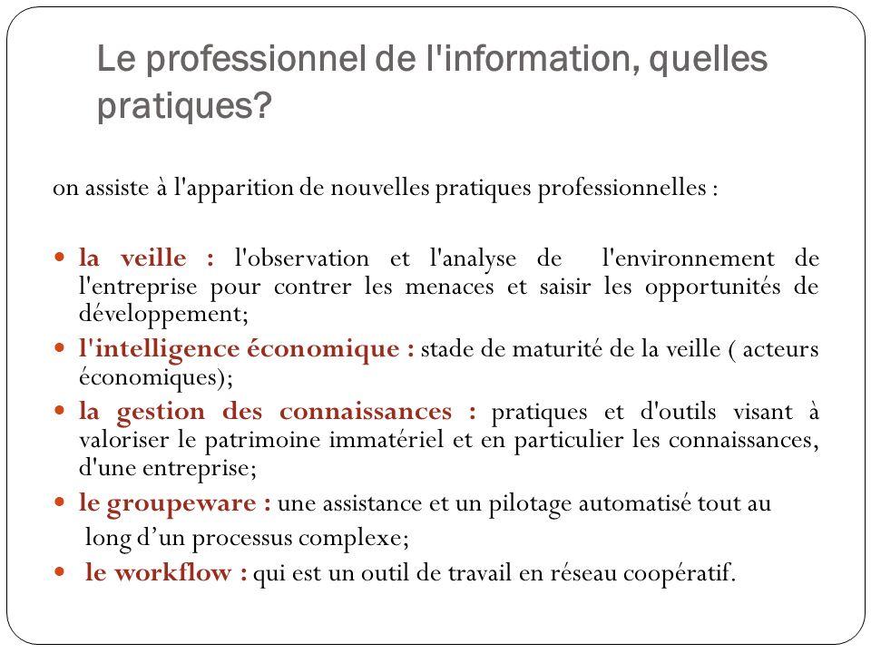 Le professionnel de l'information, quelles pratiques? on assiste à l'apparition de nouvelles pratiques professionnelles : la veille : l'observation et