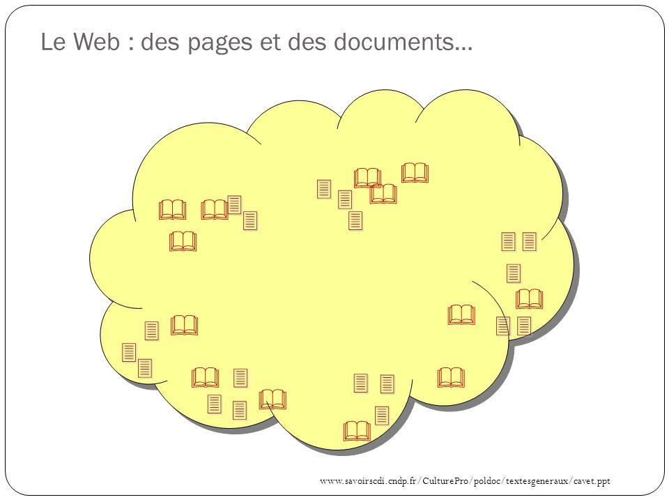 Le Web : des pages et des documents… www.savoirscdi.cndp.fr/CulturePro/poldoc/textesgeneraux/cavet.ppt