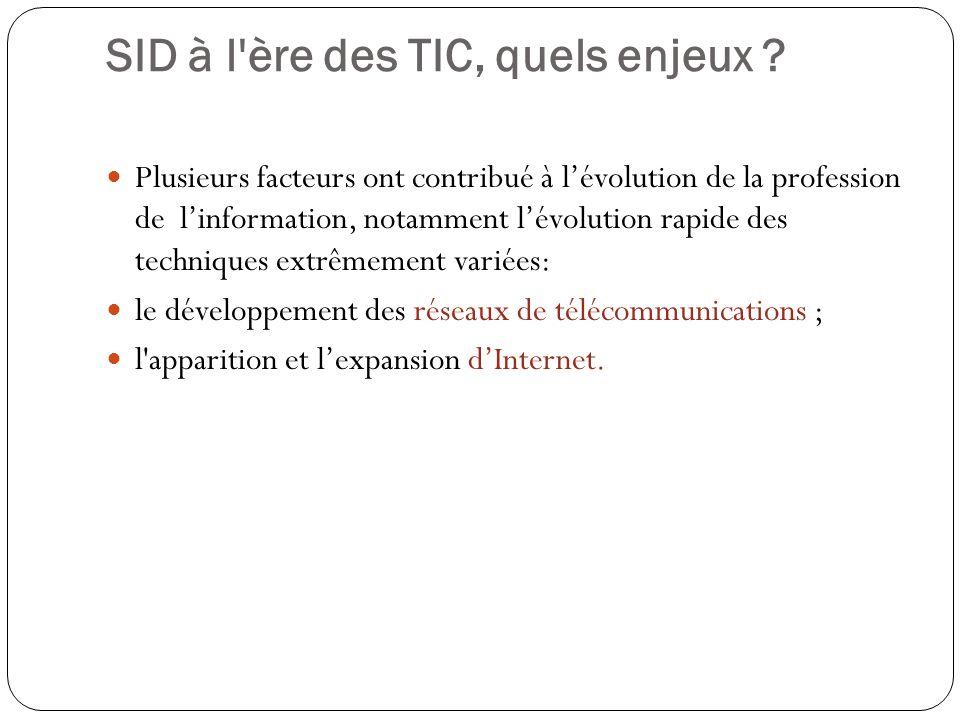 SID à l'ère des TIC, quels enjeux ? Plusieurs facteurs ont contribué à lévolution de la profession de linformation, notamment lévolution rapide des te