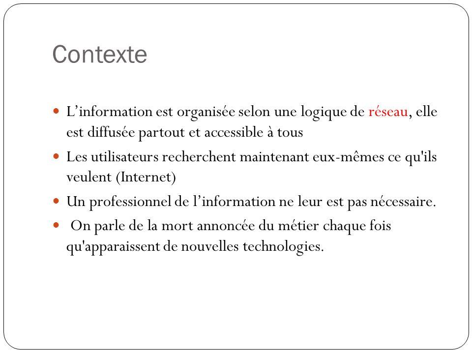 Contexte Linformation est organisée selon une logique de réseau, elle est diffusée partout et accessible à tous Les utilisateurs recherchent maintenan