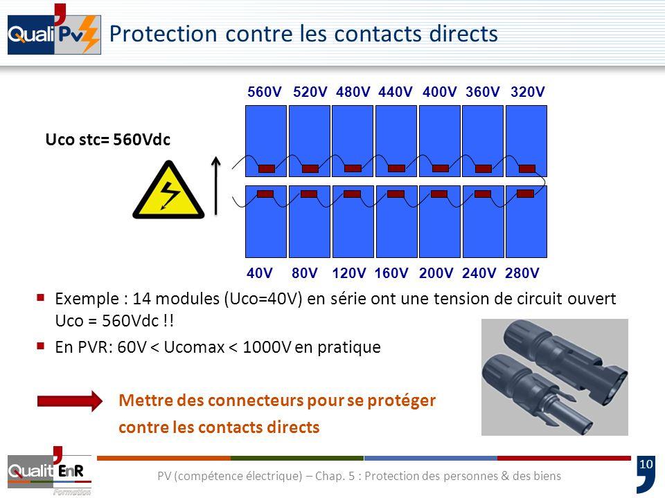 10 Uco stc= 560Vdc Protection contre les contacts directs Exemple : 14 modules (Uco=40V) en série ont une tension de circuit ouvert Uco = 560Vdc !! En