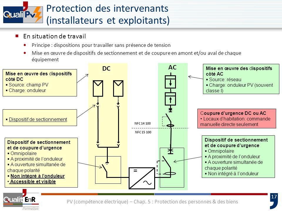 17 Protection des intervenants (installateurs et exploitants) En situation de travail Principe : dispositions pour travailler sans présence de tension