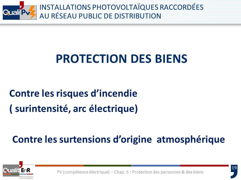 19 PROTECTION DES BIENS INSTALLATIONS PHOTOVOLTAÏQUES RACCORDÉES AU RÉSEAU PUBLIC DE DISTRIBUTION PV (compétence électrique) – Chap. 5 : Protection de