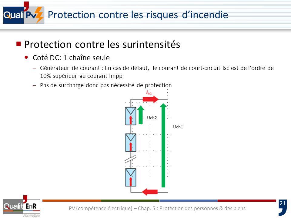 21 Protection contre les risques dincendie Protection contre les surintensités Coté DC: 1 chaîne seule –Générateur de courant : En cas de défaut, le c