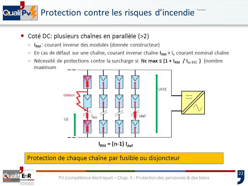 22 Protection contre les risques dincendie Coté DC: plusieurs chaînes en parallèle (>2) –I RM : courant inverse des modules (donnée constructeur) –En