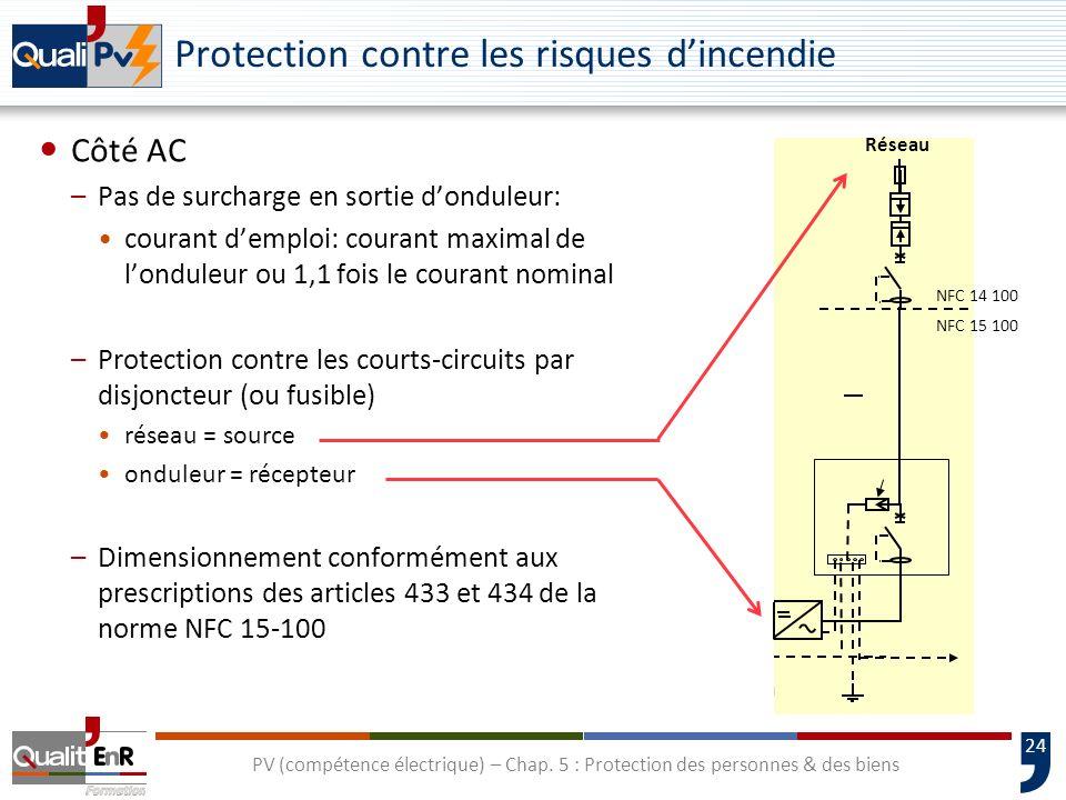 24 Protection contre les risques dincendie PV (compétence électrique) – Chap. 5 : Protection des personnes & des biens Câble chaîne Câble principal NF