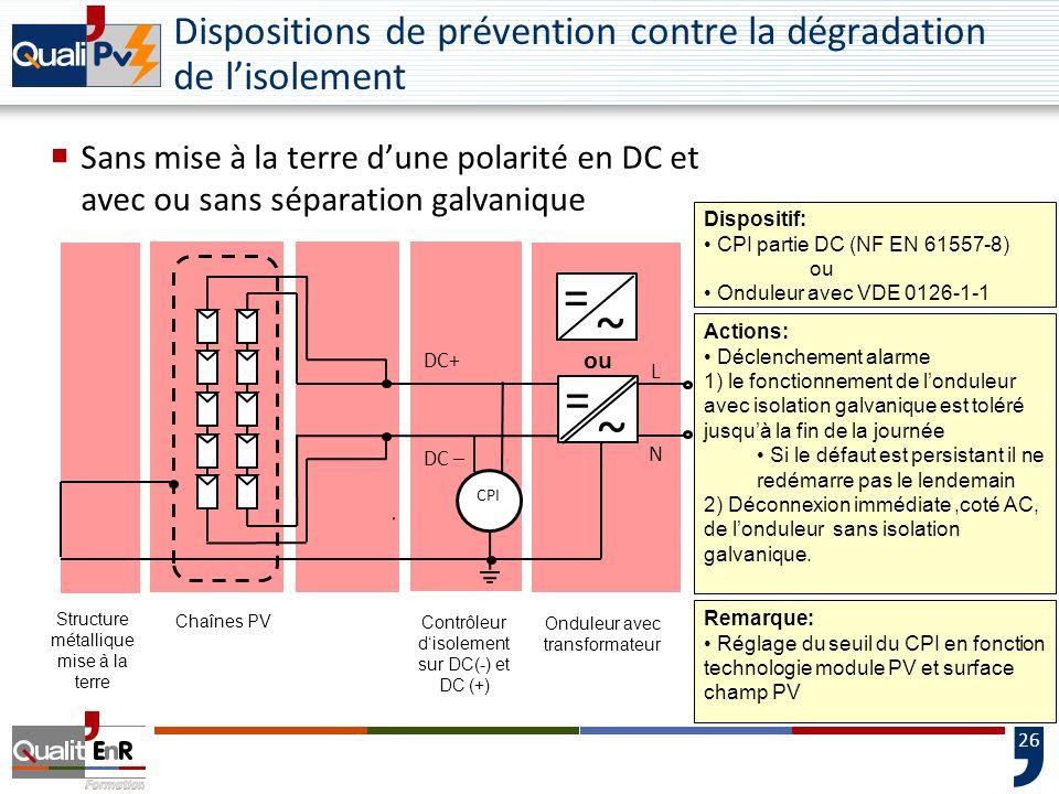 26 Chaînes PV DC+ DC – Onduleur avec transformateur Structure métallique mise à la terre Dispositif: CPI partie DC (NF EN 61557-8) ou Onduleur avec VD