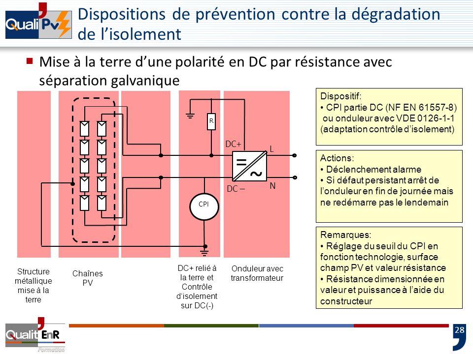 28 Dispositions de prévention contre la dégradation de lisolement Mise à la terre dune polarité en DC par résistance avec séparation galvanique CPI DC