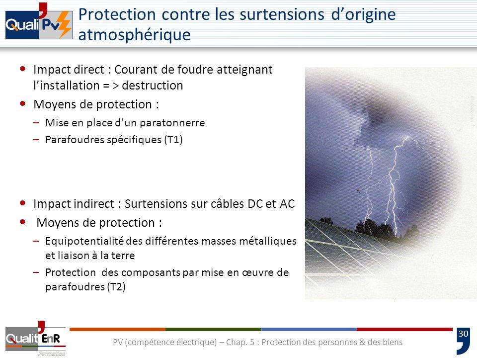 30 Protection contre les surtensions dorigine atmosphérique Impact direct : Courant de foudre atteignant linstallation = > destruction Moyens de prote