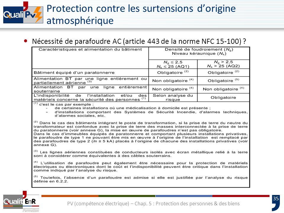 35 Protection contre les surtensions dorigine atmosphérique Nécessité de parafoudre AC (article 443 de la norme NFC 15-100) ? PV (compétence électriqu