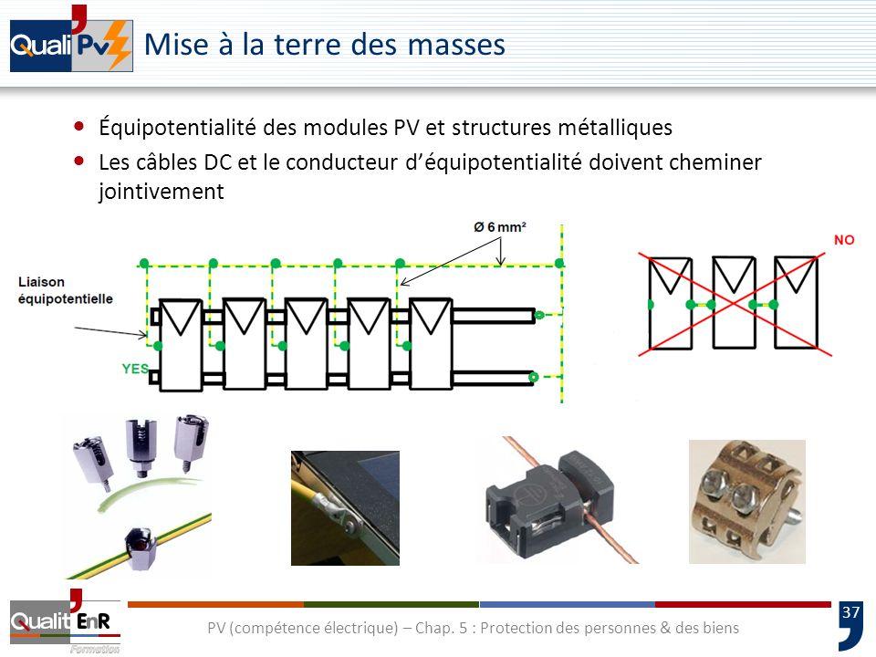 37 Mise à la terre des masses Équipotentialité des modules PV et structures métalliques Les câbles DC et le conducteur déquipotentialité doivent chemi