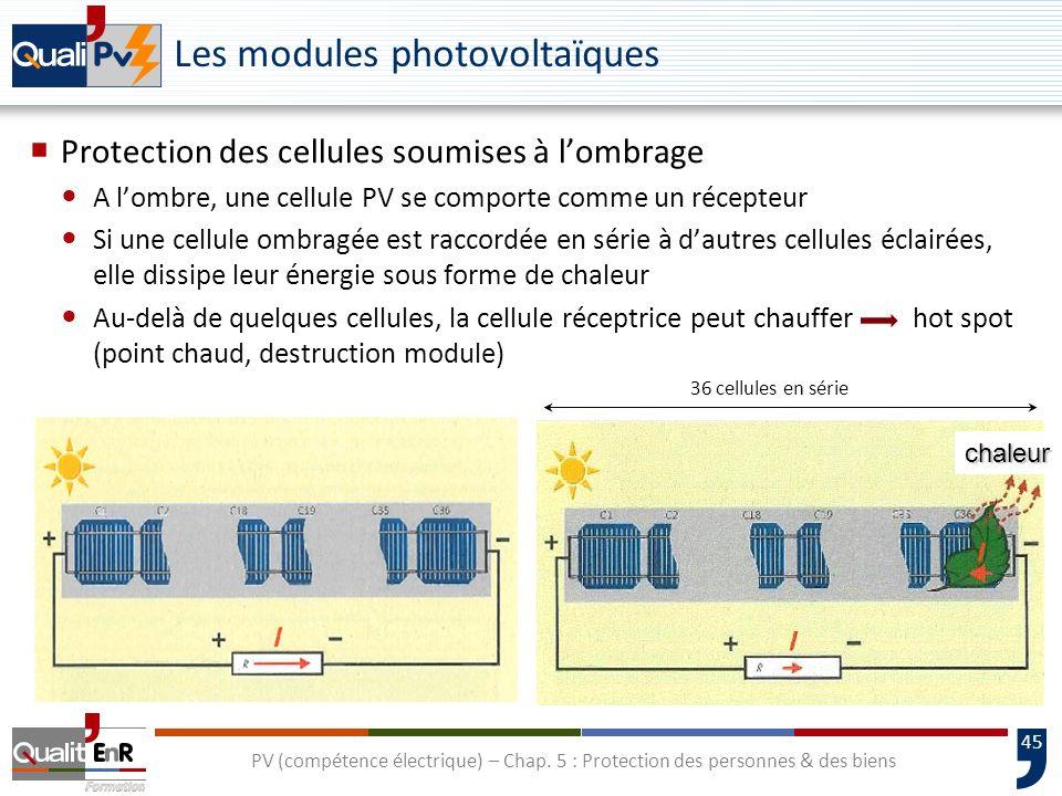 45 chaleur 36 cellules en série Les modules photovoltaïques Protection des cellules soumises à lombrage A lombre, une cellule PV se comporte comme un