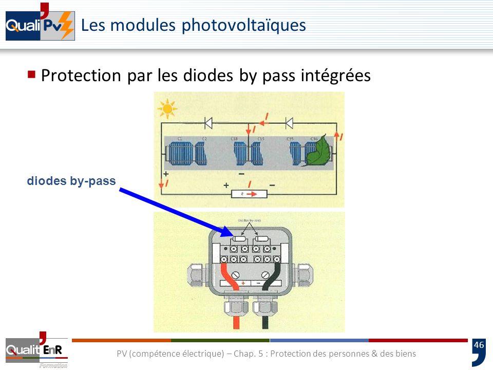46 diodes by-pass Les modules photovoltaïques Protection par les diodes by pass intégrées PV (compétence électrique) – Chap. 5 : Protection des person