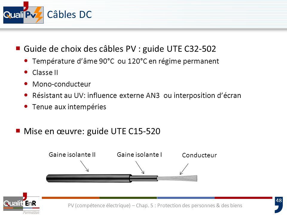 48 Câbles DC Guide de choix des câbles PV : guide UTE C32-502 Température dâme 90°C ou 120°C en régime permanent Classe II Mono-conducteur Résistant a