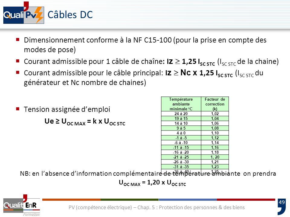 49 Câbles DC Dimensionnement conforme à la NF C15-100 (pour la prise en compte des modes de pose) Courant admissible pour 1 câble de chaîne: I z 1,25