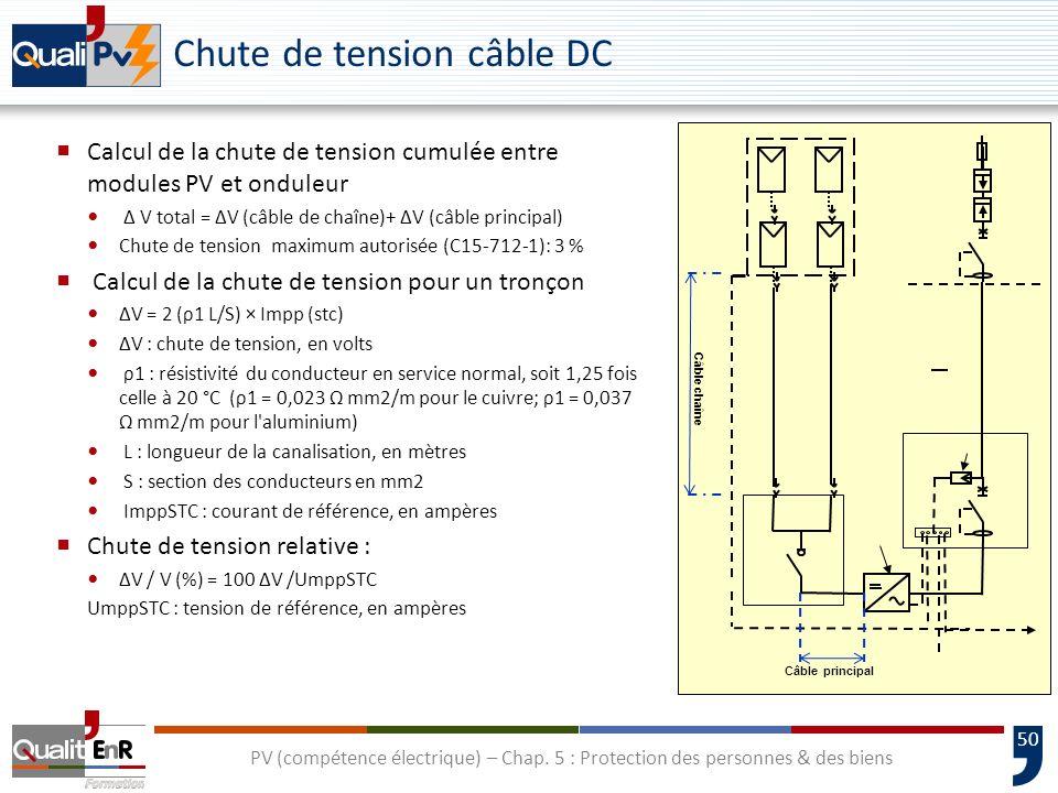 50 Chute de tension câble DC Calcul de la chute de tension cumulée entre modules PV et onduleur V total = V (câble de chaîne)+ V (câble principal) Chu