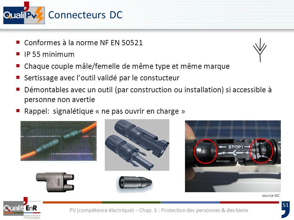 51 Connecteurs DC Conformes à la norme NF EN 50521 IP 55 minimum Chaque couple mâle/femelle de même type et même marque Sertissage avec loutil validé