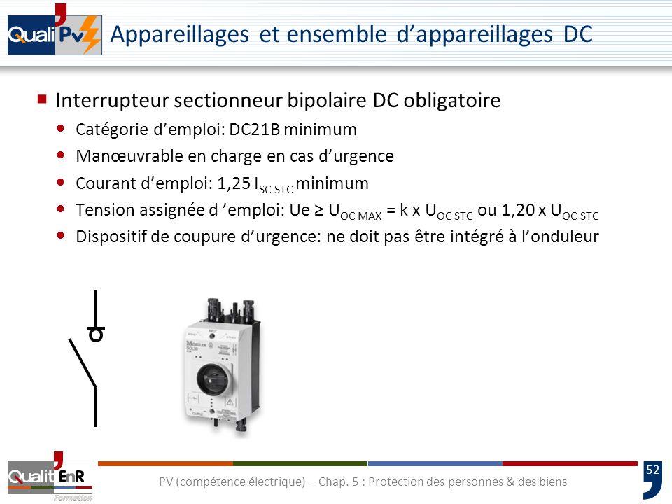52 Appareillages et ensemble dappareillages DC Interrupteur sectionneur bipolaire DC obligatoire Catégorie demploi: DC21B minimum Manœuvrable en charg