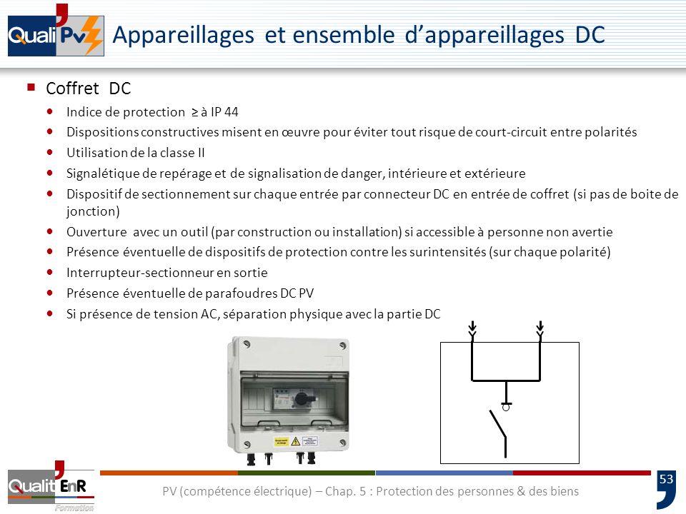 53 Appareillages et ensemble dappareillages DC Coffret DC Indice de protection à IP 44 Dispositions constructives misent en œuvre pour éviter tout ris