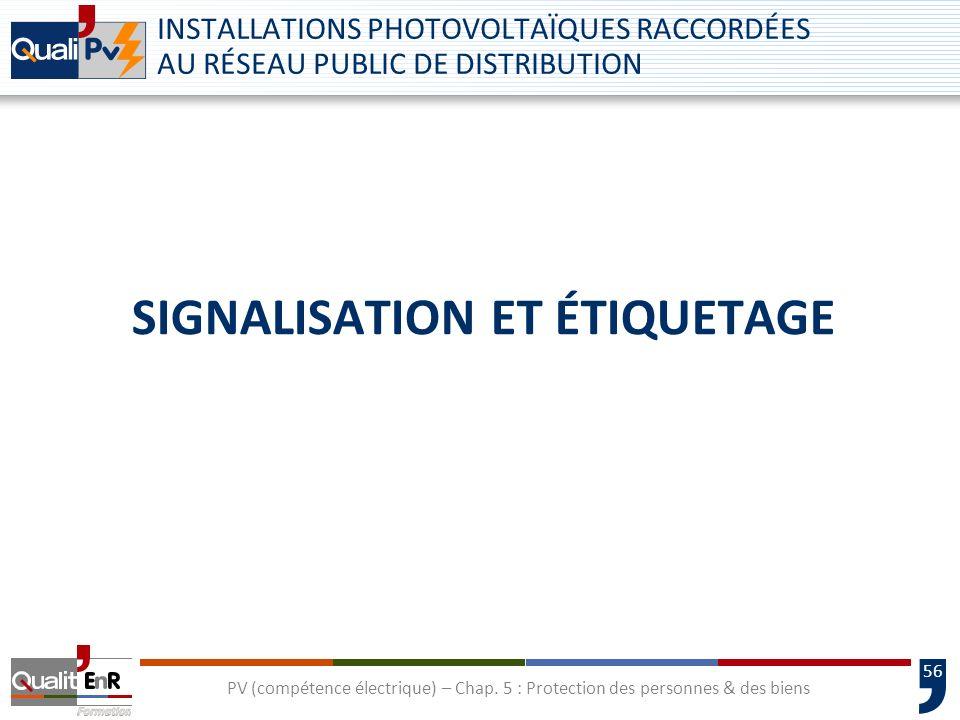 56 SIGNALISATION ET ÉTIQUETAGE INSTALLATIONS PHOTOVOLTAÏQUES RACCORDÉES AU RÉSEAU PUBLIC DE DISTRIBUTION PV (compétence électrique) – Chap. 5 : Protec