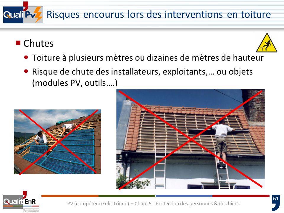 61 Risques encourus lors des interventions en toiture Chutes Toiture à plusieurs mètres ou dizaines de mètres de hauteur Risque de chute des installat