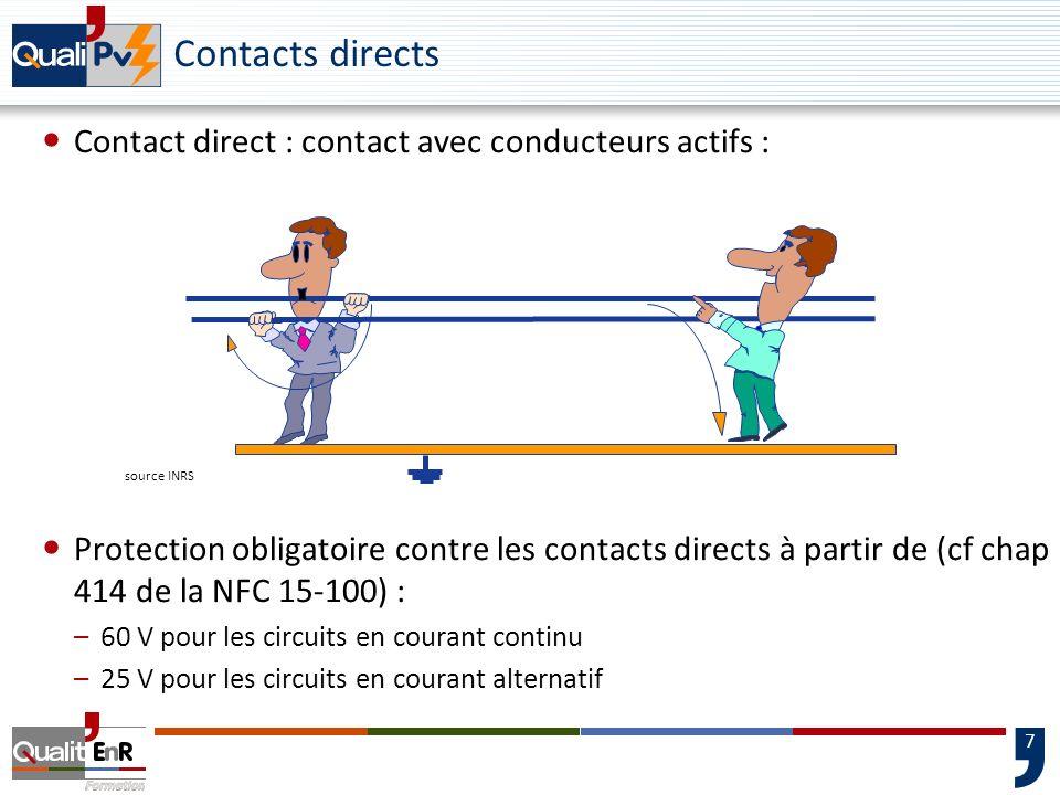 7 Contacts directs Contact direct : contact avec conducteurs actifs : Protection obligatoire contre les contacts directs à partir de (cf chap 414 de l