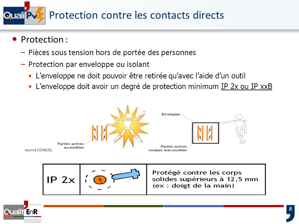 8 Protection contre les contacts directs Protection : –Pièces sous tension hors de portée des personnes –Protection par enveloppe ou isolant Lenvelopp