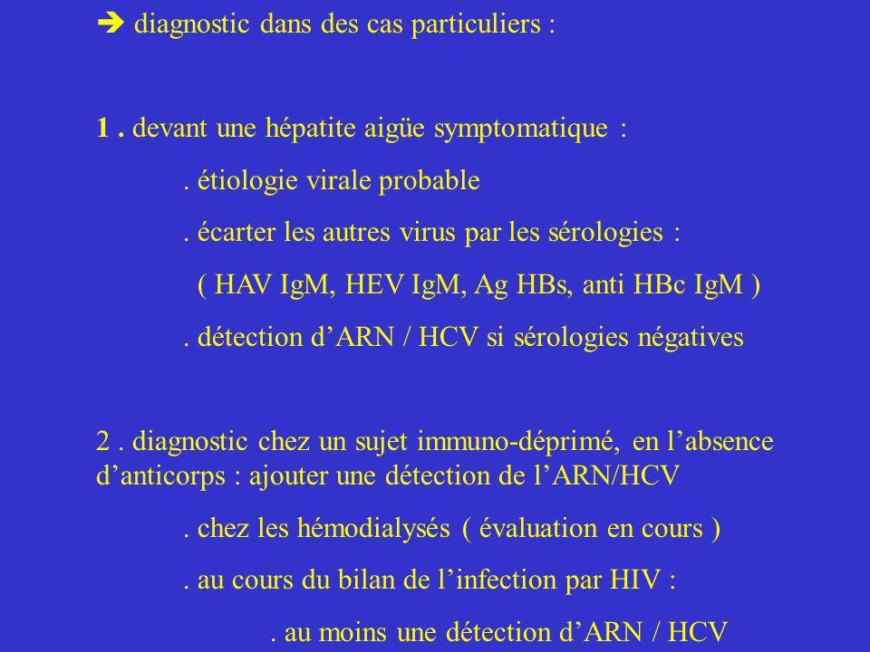 diagnostic dans des cas particuliers : 1. devant une hépatite aigüe symptomatique :. étiologie virale probable. écarter les autres virus par les sérol
