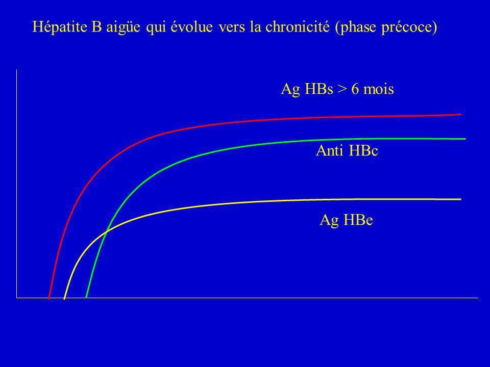 Hépatite B aigüe qui évolue vers la chronicité (phase précoce) Ag HBs > 6 mois Anti HBc Ag HBe