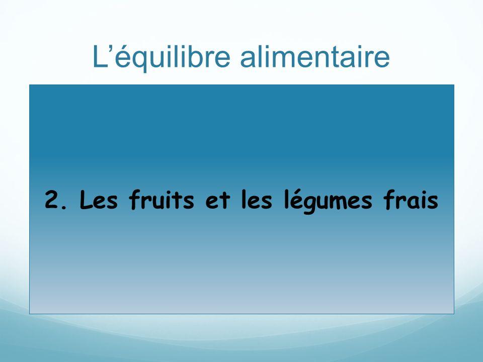 Léquilibre alimentaire 2. Les fruits et les légumes frais