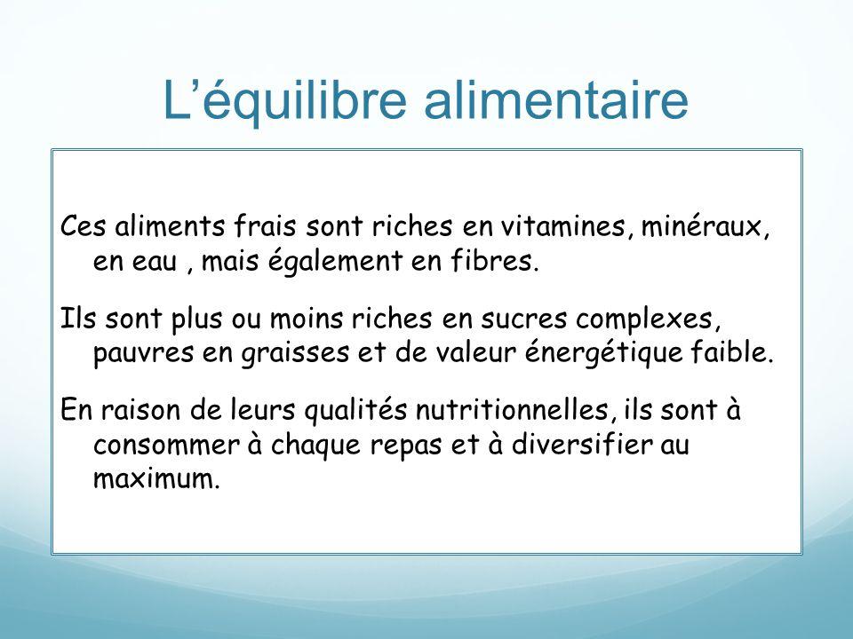 Léquilibre alimentaire Ces aliments frais sont riches en vitamines, minéraux, en eau, mais également en fibres. Ils sont plus ou moins riches en sucre
