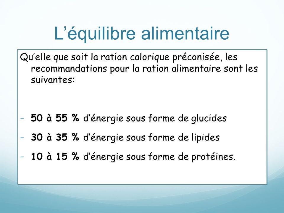 Léquilibre alimentaire Quelle que soit la ration calorique préconisée, les recommandations pour la ration alimentaire sont les suivantes: - 50 à 55 %