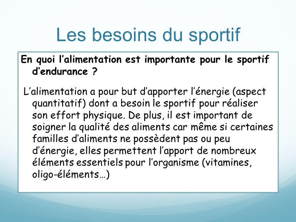 Les besoins du sportif En quoi lalimentation est importante pour le sportif dendurance ? Lalimentation a pour but dapporter lénergie (aspect quantitat