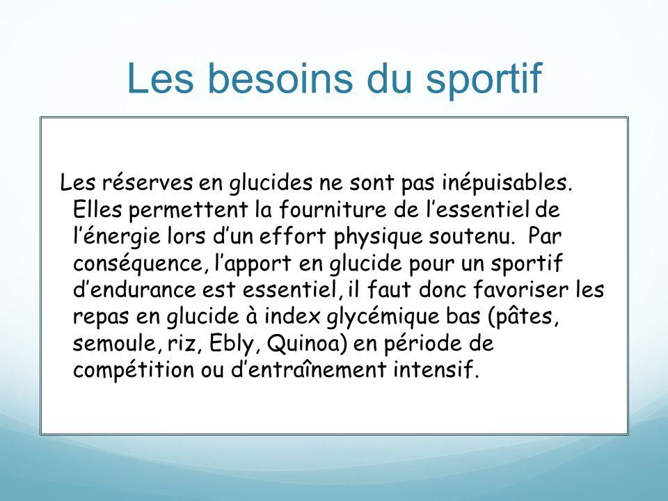 Les besoins du sportif Les réserves en glucides ne sont pas inépuisables. Elles permettent la fourniture de lessentiel de lénergie lors dun effort phy