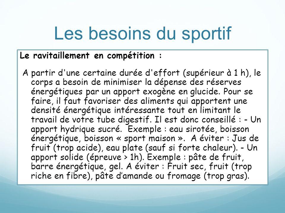 Les besoins du sportif Le ravitaillement en compétition : A partir d'une certaine durée d'effort (supérieur à 1 h), le corps a besoin de minimiser la